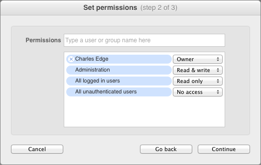 Figure 5: Add users and groups and set their access privileges in the Set Permissions dialog.