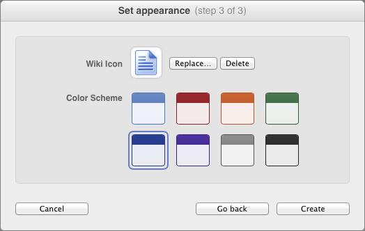 Figure 6: Choose a color scheme and representative icon.