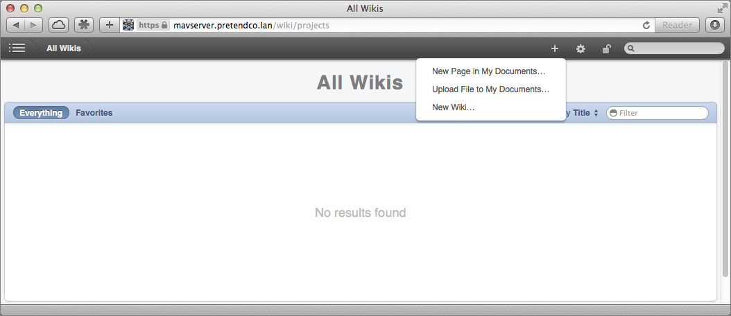 Figure 4: Create a new wiki from the toolbar of the Web page.