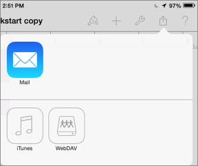 Figure 18: After tapping the share button and Send a Copy, tap the WebDAV button to send a copy of the file back to the wiki.