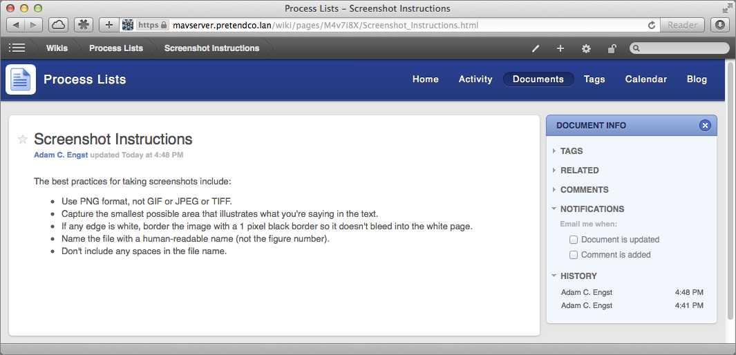 Figure 10: Notice that the new page looks basically like the home page, and can be edited in the same way.