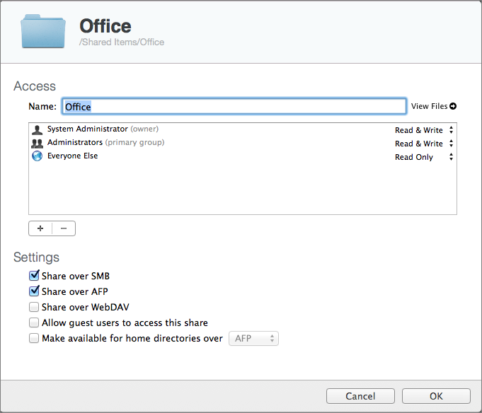 Figure 1: Record the settings for a shared folder with a screenshot before moving it.