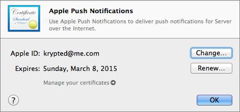Figure 7: Renewing Apple Push Notifications certificate