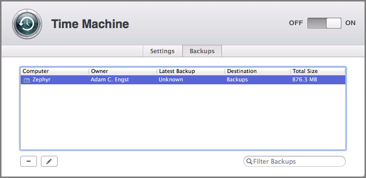 Figure 5: The Backups screen lists all your users.