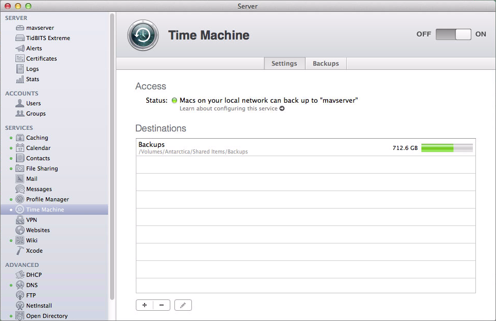 Figure 2: The Settings screen of the Time Machine service lists all your backup destinations.