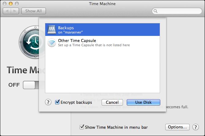 Figure 3: On each client Mac, choose your server's backup destination.