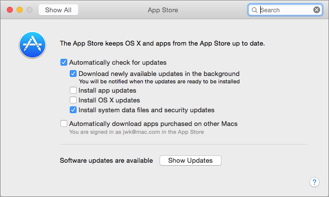 Figure 2: Configure automatic updates in the App Store preference pane.