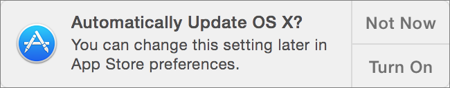 Figure 1: The App Store would really like to update all your apps automatically from now on.