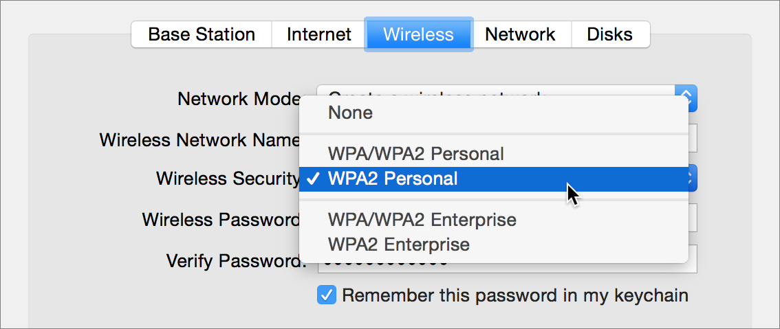 """Figure 1: Wireless security options for an Apple AirPort base station. Choose any of the options including """"WPA"""" and you should be fine."""
