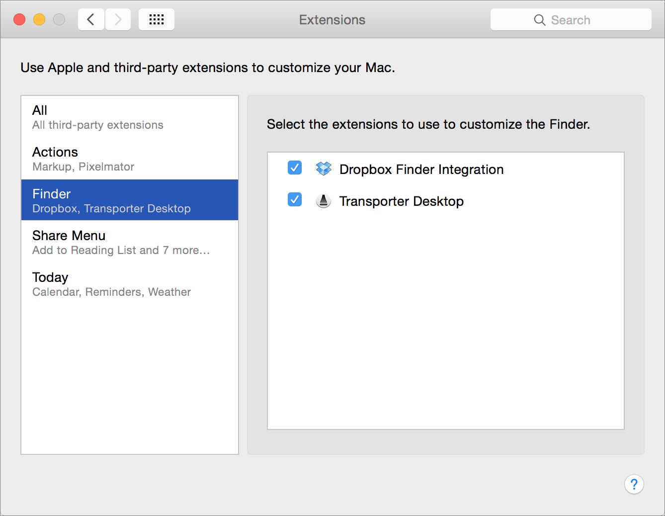 Figure 2: Select which extensions are enabled for which apps in the Extensions pane of System Preferences.
