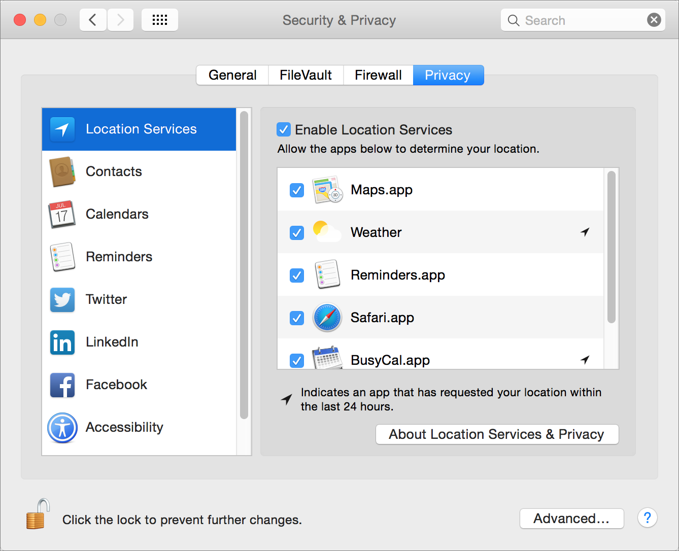 Figure 1: Enable location services generally, and for individual apps, in this view of the Security & Privacy preference pane.