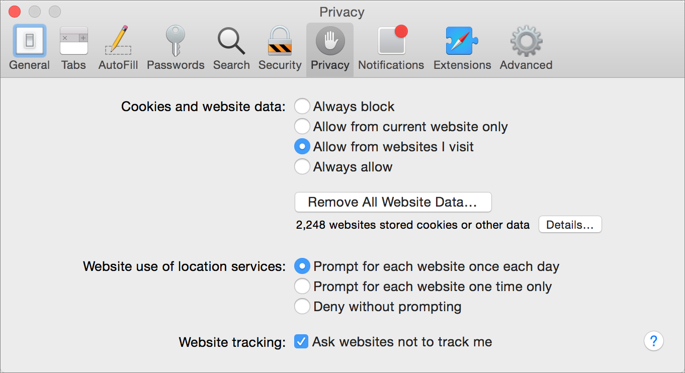 Figure 3: Configure Safari's privacy-related preferences here.
