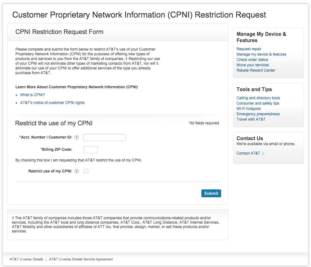 Restricting Your Cell Carrier's Use of Your CPNI Data - TidBITS