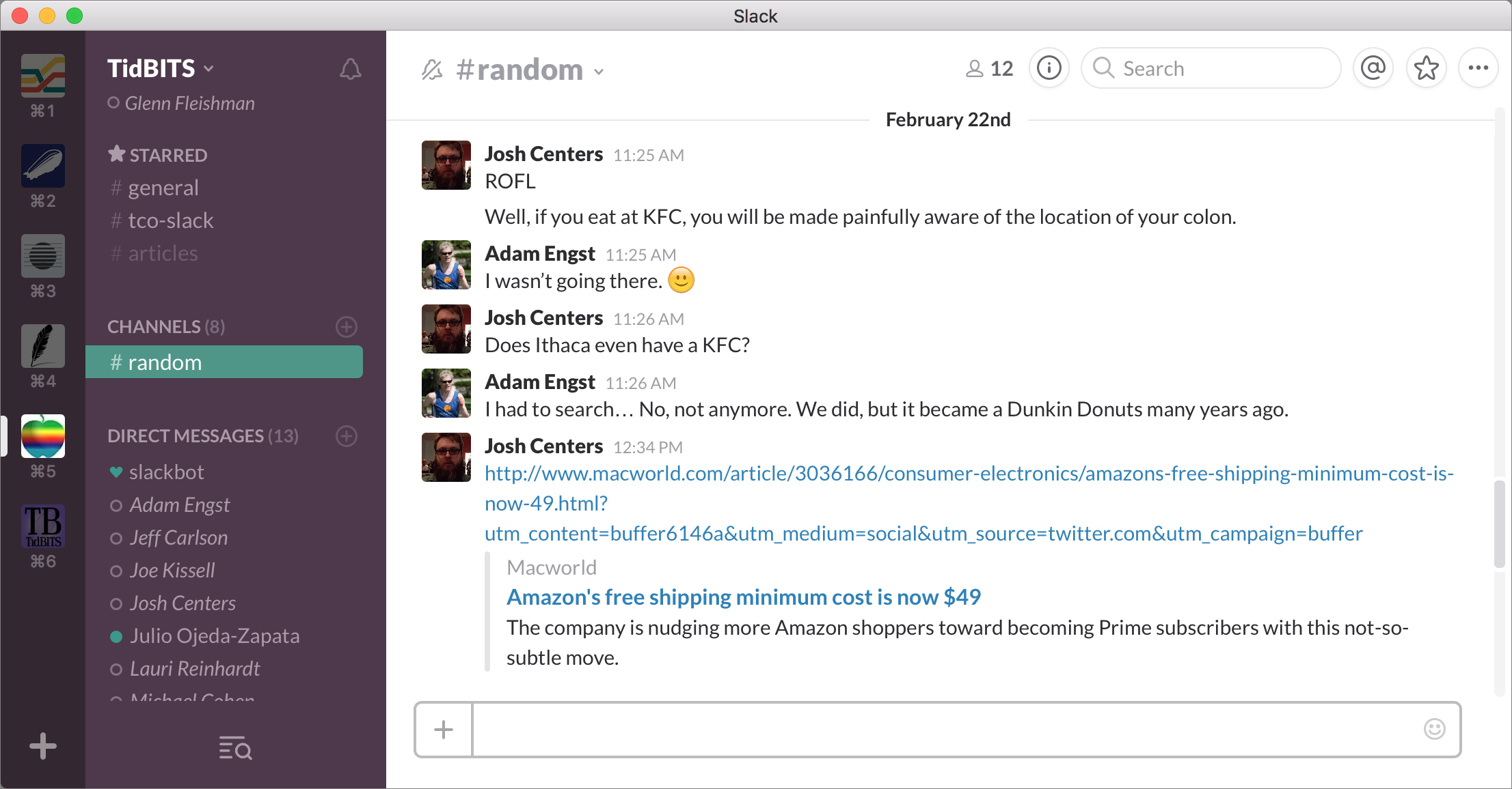 Figure 1: A typical Slack window shows teams, channels, and messages.