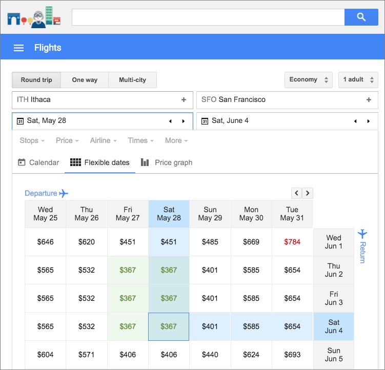 google flights offers a slick travel planning interface tidbits. Black Bedroom Furniture Sets. Home Design Ideas