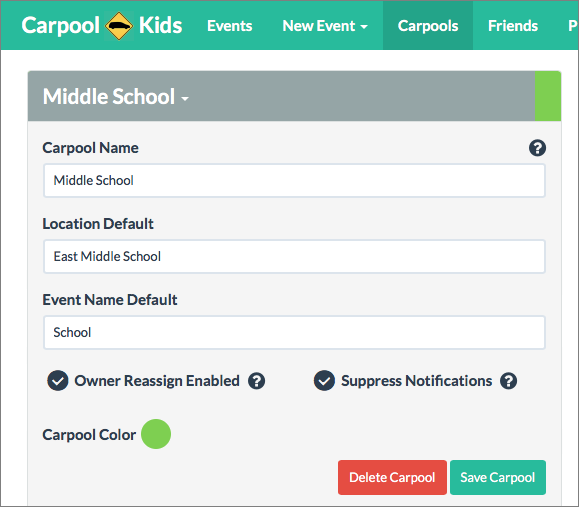 Carpool kids takes the hassle out of carpools tidbits for Carpool calendar template