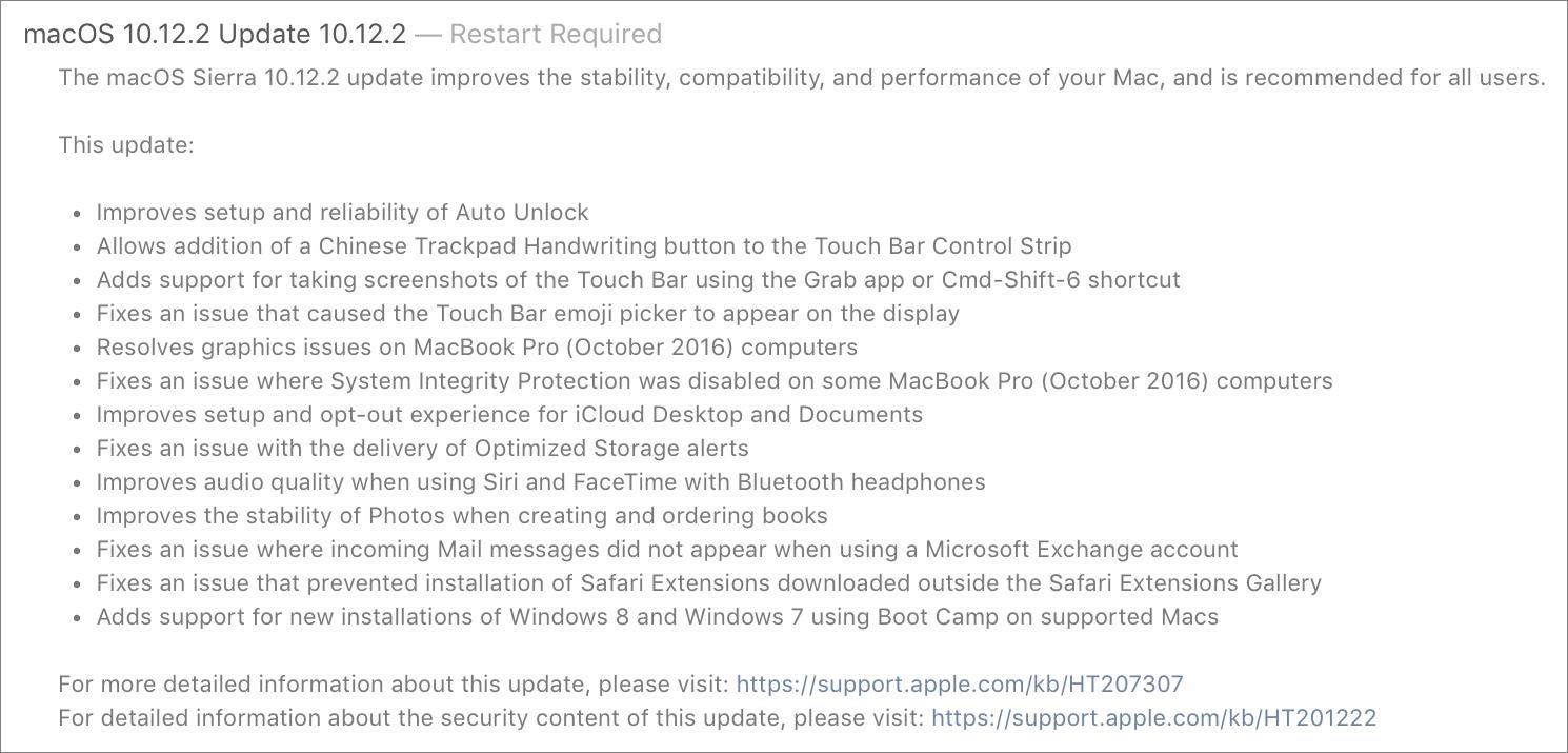 Tidbits135002 jan 2017 macos 10122 sierra focuses on new macbook pros hexwebz Image collections