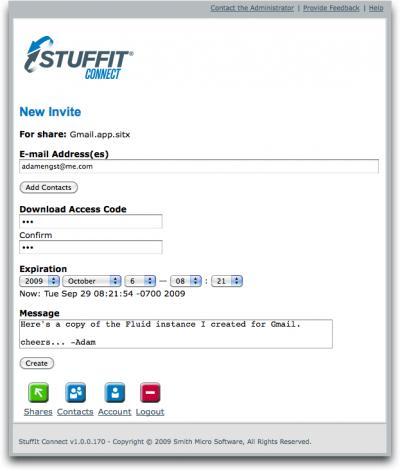 StuffIt-Connect-interface