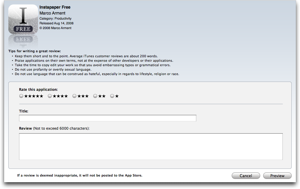 Apple Changes App Store Customer Review Policy - TidBITS