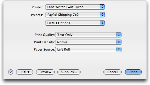 Printing Shipping Labels from PayPal's Shopping Cart - TidBITS