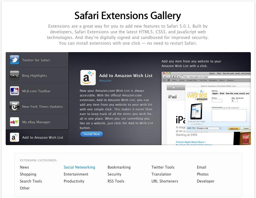 Safari 5 0 1 Brings Bug Fixes, Safari Extensions Gallery