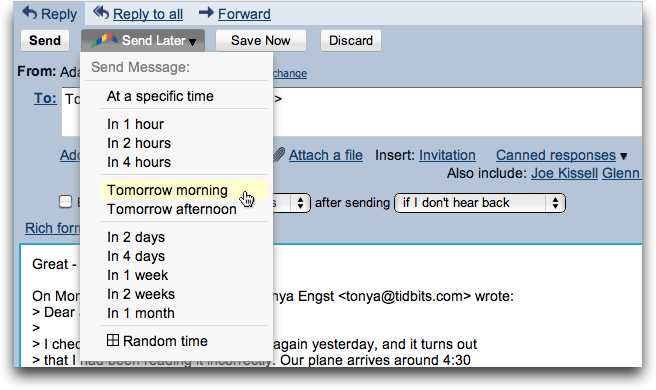 Mailplane 2 3 1 Adds Support for Boomerang for Gmail - TidBITS