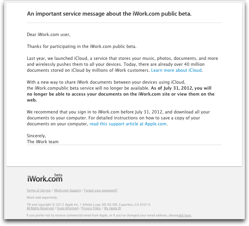 Apple Finally Puts iWork com Out of Its Misery - TidBITS