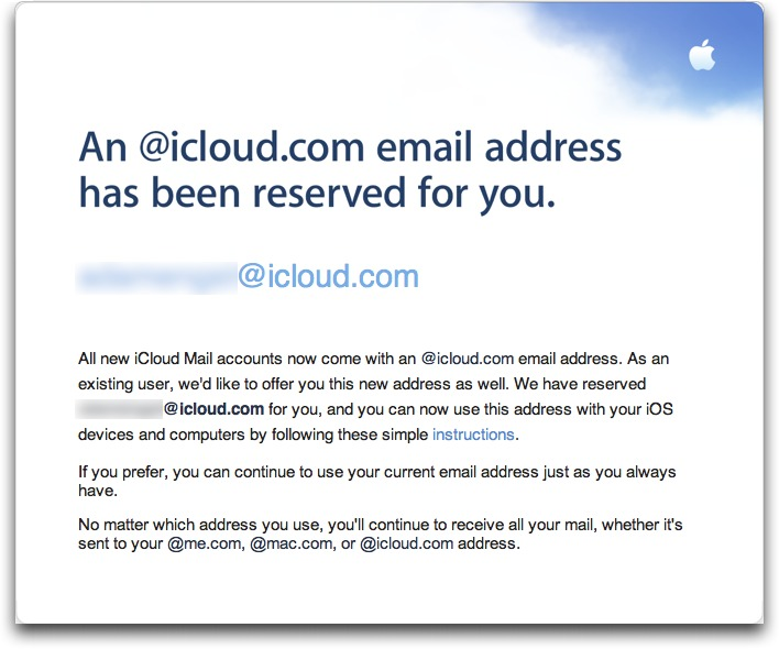 Apple Enables icloud com Addresses for me com and mac com Users