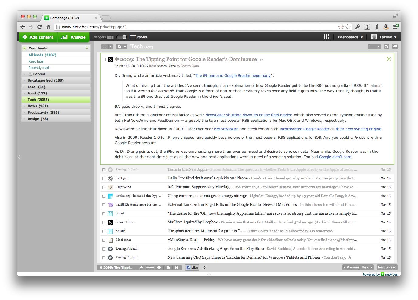 Explore Alternatives to Google Reader - TidBITS