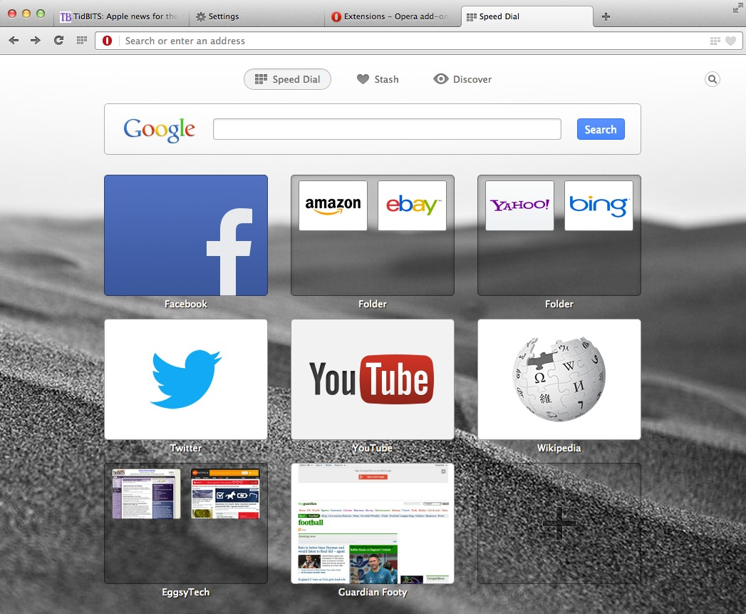 Opera Releases Chromed Preview of Next Browser - TidBITS