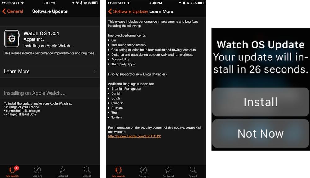 Installing the Apple Watch 1 0 1 Update - TidBITS