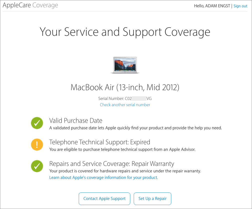 If your Mac isn't functional, or if you want to start the repair process  for something other than a Mac, you can go to the AppleCare Coverage page  directly.