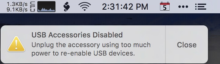 usb device drawing too much power mac mini