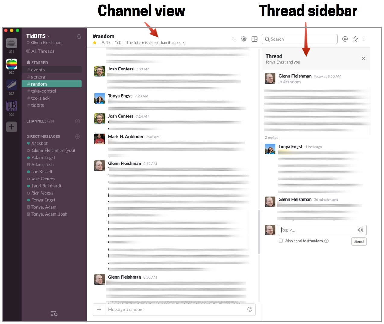 When You Want To Interact In A Thread Take Your Sidebar Discussion Into Literal Interface Or Use New Team Wide Threads View