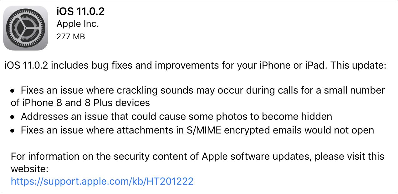 iOS 11 0 2 Fixes iPhone 8 Crackling - TidBITS