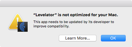 A warning that Levelator is not 64-bit.