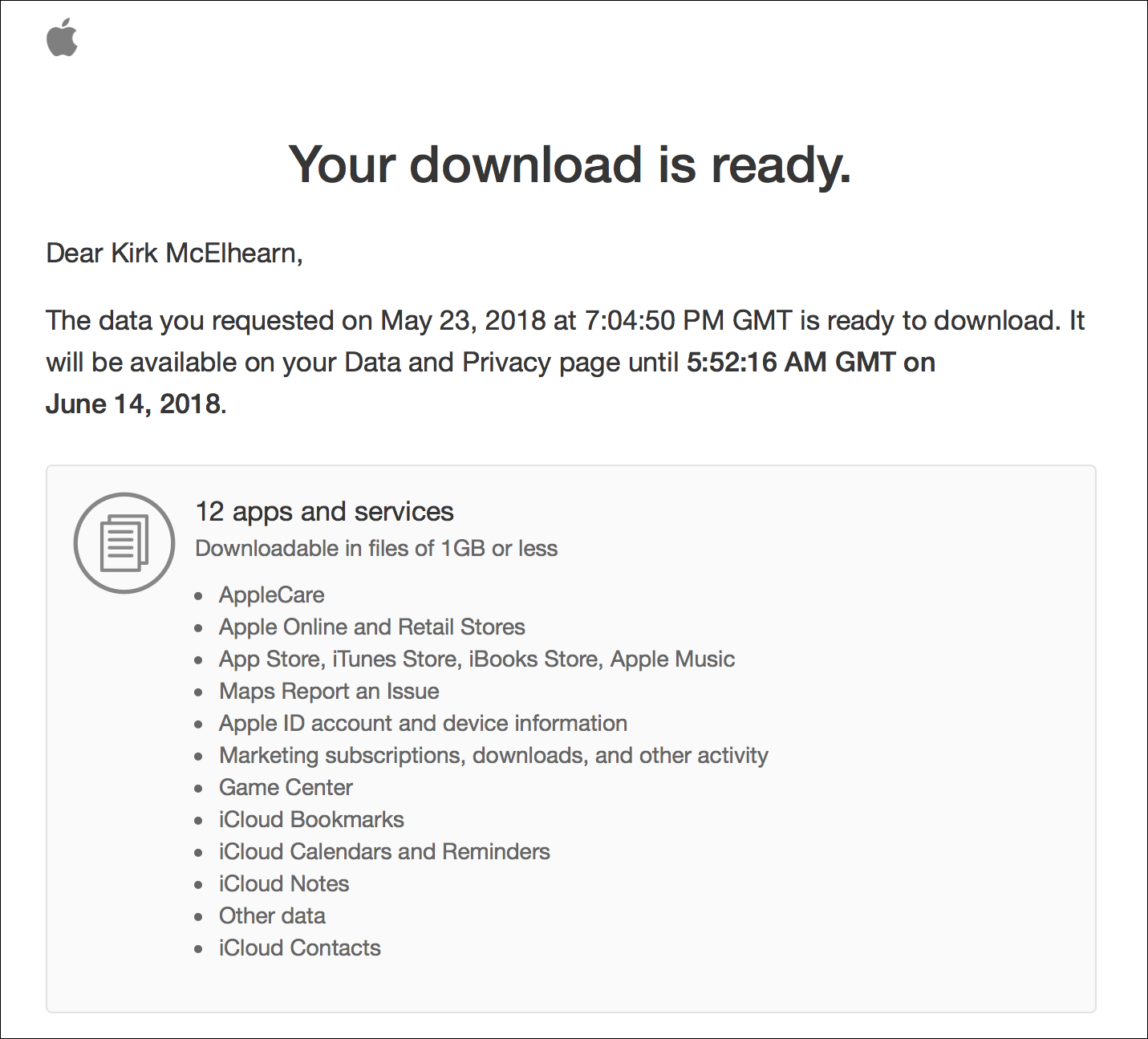 how to download all your apple data tidbits