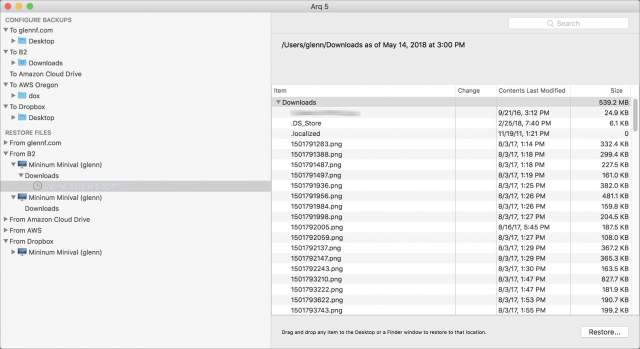 Screenshot of Arq's interface for restoring files.
