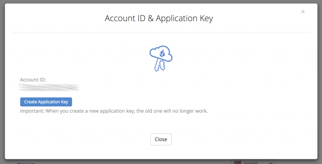 Screenshot of B2's Account ID & Application Key screen