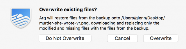 Arq offers options for overwriting files on restore.
