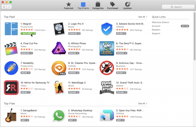 Buying an app in the Mac App Store.