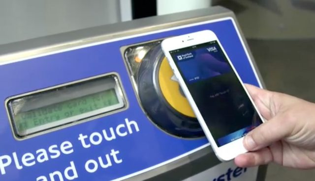 Using Apple Pay at a Transport for London contactless reader