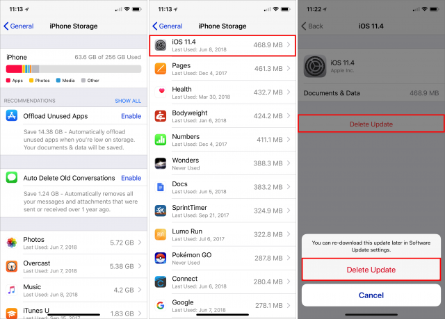 Screenshot showing the process of deleting an iOS update