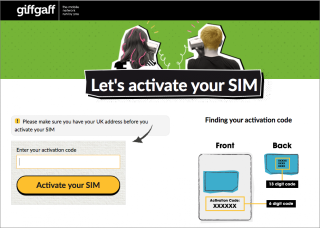 Giffgaff SIM activation page