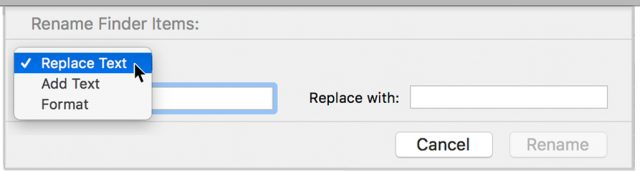 Using Rename Items in the Finder.