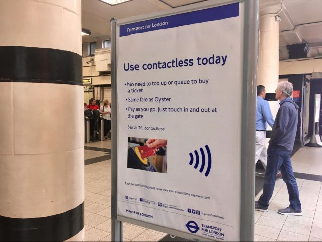 Transport for London poster encouraging the use of contactless credit cards.