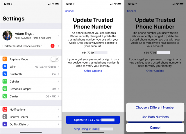 Screenshots showing the request to update the trusted phone number.