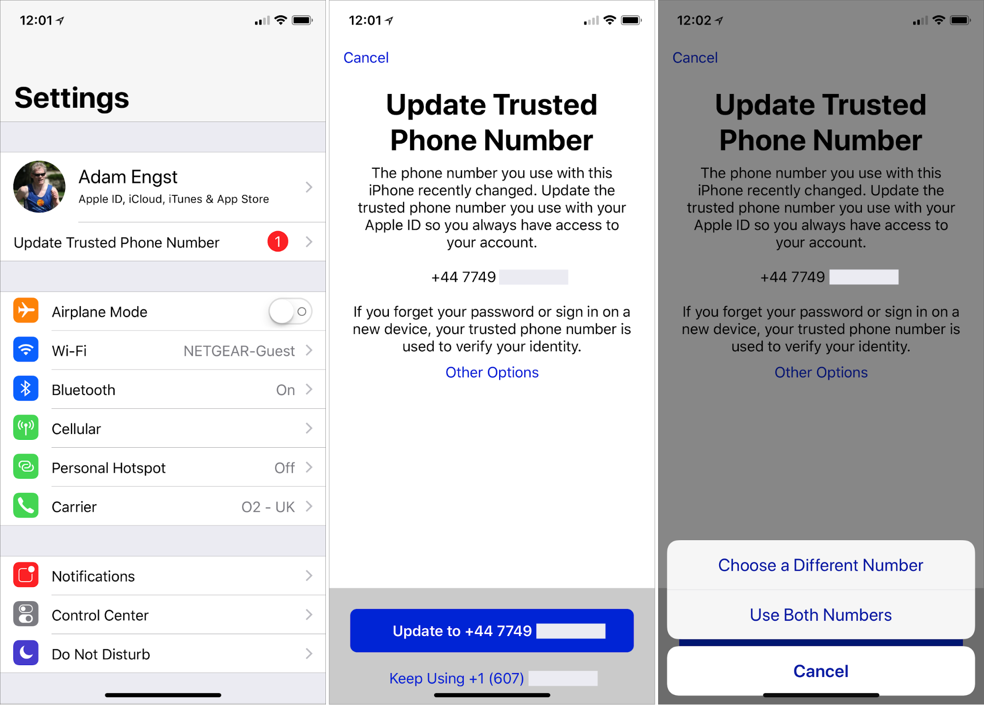 apple how to change trusted phone number