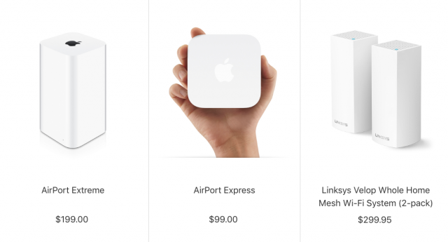 Routers Apple sells in its store: AirPort Extreme, AirPort Express, and Linksys Velop.