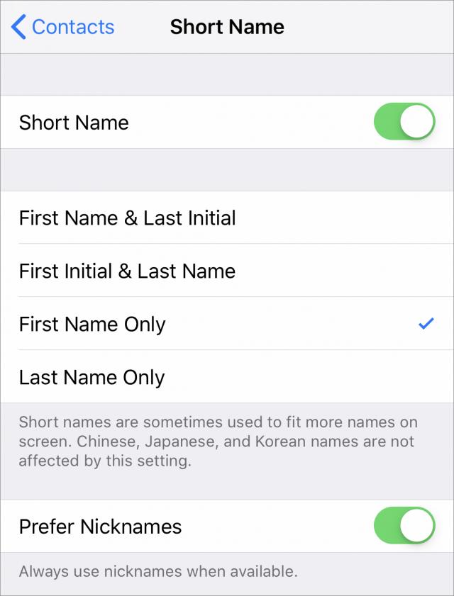 Short Name settings.